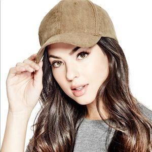 Guess Faux Suede Tan Baseball Cap